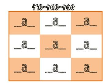 Short Vowel Tic-Tac-Toe