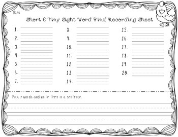 Short Vowel Tiny Sight Word Finds (Differentiated)