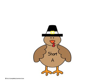 Short Vowel Turkey Feather Sort--Common Core Alligned