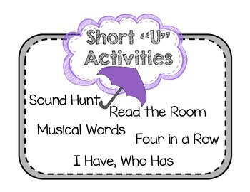 "Short Vowel ""U"" Activities"