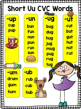 Short Vowel U Cvc Word Work By Shining And Climbing In First Tpt