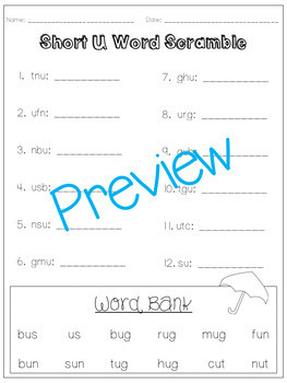Short Vowel U - A Full Week of Lesson Plans, Activities, and Word Work!