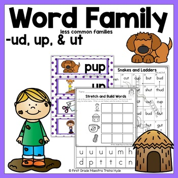 Short Vowel U Word Family Packet for Word Families UD, UP, and UT