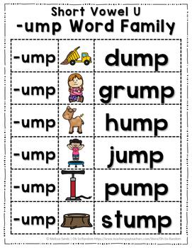 Short Vowel U Word Work {-ump Word Family}