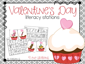 Valentine's Day Literacy Stations - CVC words