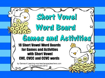 photo about Printable Short Vowel Games called Shorter Vowel Term Message boards for Video games and Things to do