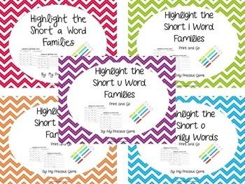 Short Vowel Word Families Bundle