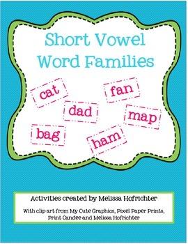 Short Vowel Word Families Activities