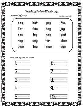Short Vowel Word Families: Circle and Write