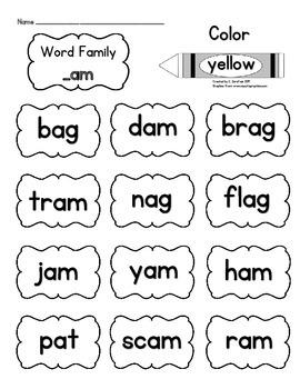 Short Vowel Word Families: Color
