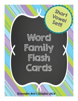 Short Vowel Word Families Flash Cards