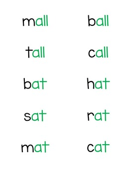 Short Vowel Word Families Fluency Phrases