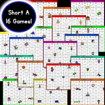 Short Vowel Word Families Games: Four in a Row BUNDLE [51 GAMES]