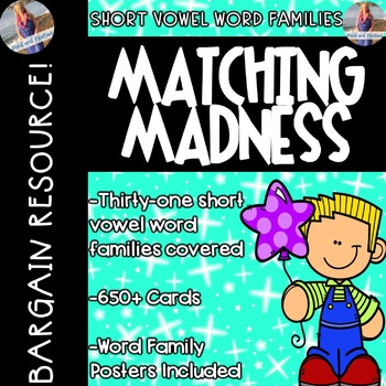 Short Vowels Posters & Matching Game Cards!