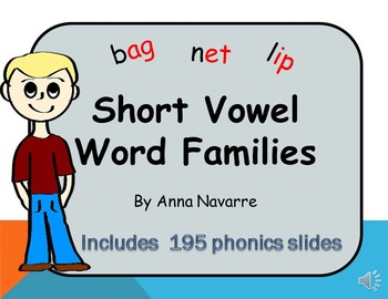 Short Vowel Word Families - PowerPoint w/Audio