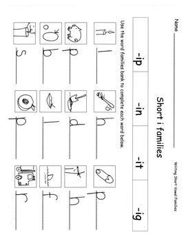 Short Vowel Word Families Practice Sheets Onset-Rime Writing RF.K.2 and 3