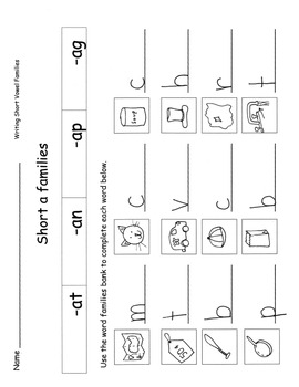 Short Vowel Word Families Practice Sheets Onset-Rime Writi