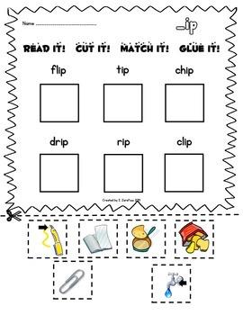 Short Vowel Word Families: Read, Cut, Match, Glue