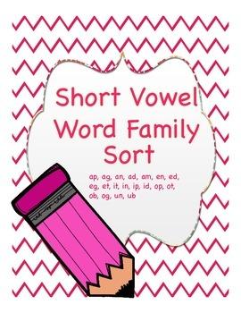Short Vowel Word Families Sort