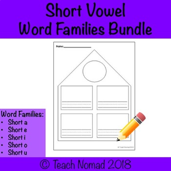 Short Vowel Word Families Worksheets Bundle