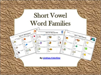 Short Vowel Word Family Activity Sheet