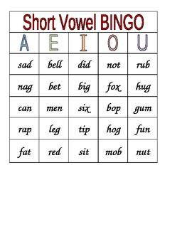 Short Vowel Word Family BINGO
