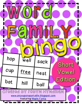 Short Vowel Word Family Bingo