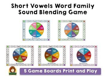 Short Vowel Word Family Blending Board Game