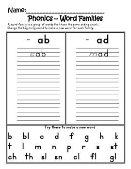 Phonics - Short Vowel Word Family Book