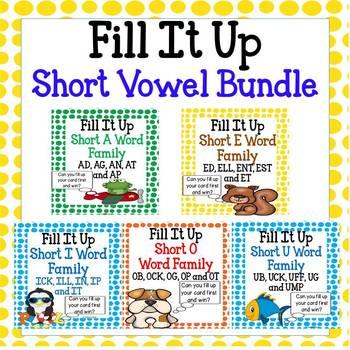 Short Vowel Word Family Bundle - Fill it Up!