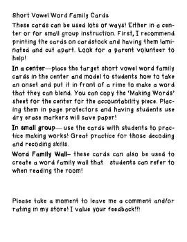 Short Vowel Word Family Center Cards