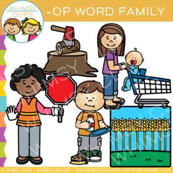 Short Vowel Word Family Clip Art - OP Words