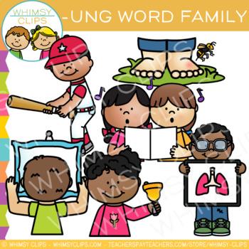 Short Vowel Word Family Clip Art  -UNG Words