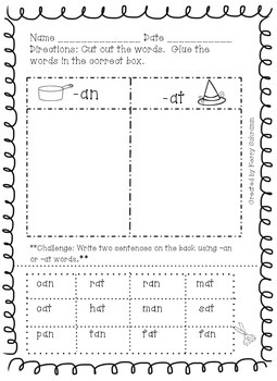 Short Vowel Word Family Cut and Paste