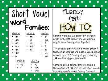 Short Vowel Word Family Fluency Fans