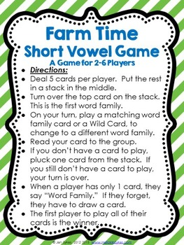 Short Vowels Word Family Game