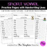 Short Vowel Word Family Homework and Classwork Practice Worksheets