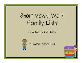 Short Vowel Word Family Lists