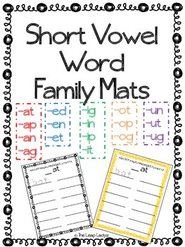Short Vowel Word Family Mats