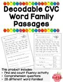 CVC CCVC Short Vowel Word Family Passages for Fluency Comp