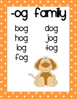 Short Vowel Word Family Posters for Kindergarten-Grade 1