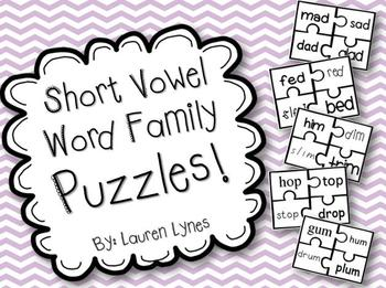 Short Vowel Word Family Puzzles!