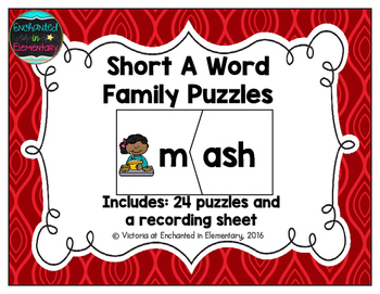 Short Vowel Word Family Puzzles: A