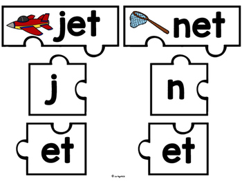 Short Vowel Word Family Puzzles-Interactive Notebook & Literacy Center