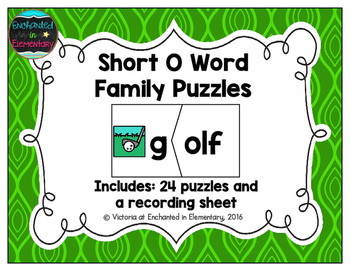Short Vowel Word Family Puzzles: O