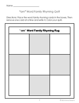 Short Vowel Word Family Rhyming Quilts