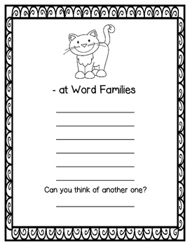 Short Vowel Word Family Sliders in Color and Black Line with Recording Sheets
