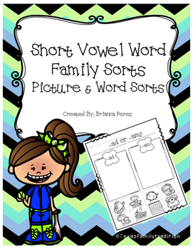 Short Vowel Word Family Sorts Bundle