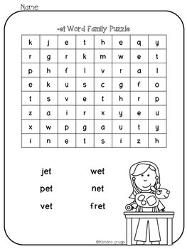 Short Vowel Word Family Word Search Puzzles!