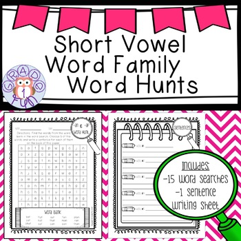 Short Vowel Word Family Word Searches